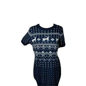 Tipsy Elves Ugly Christmas Sweater Dress Blue White Womens Size Large Xmas